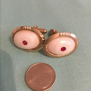 Other - Men's gold tone cuff links w/ white stone and ruby